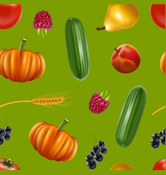realistic detailed 3d harvest seamless pattern vector image