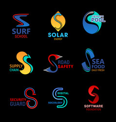s icons corporate identity and business industry vector image