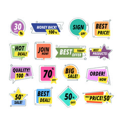 sale promo badges guarantee labels promo sticker vector image
