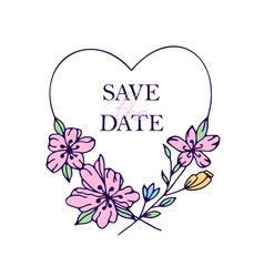 save date hand drawn hearts with stylized vector image