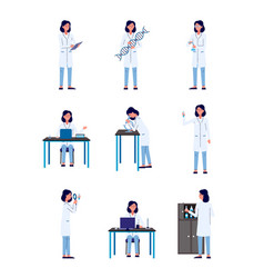 Scientist woman character in actions set flat vector