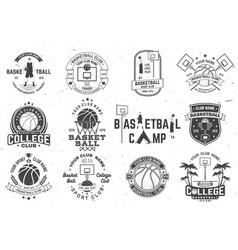 Set basketball club badge concept vector