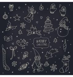 set doodle christmas decorations on blackboard vector image