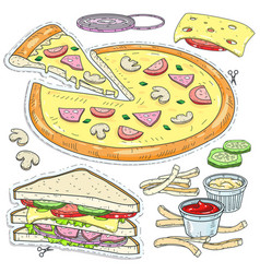set fast food cut pizza sandwich cheese vector image