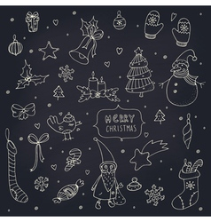 Set of doodle Christmas decorations on blackboard vector image