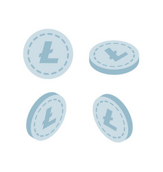 set of icons litecoin coins on the isolated vector image