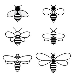 set stylized bees collection logos vector image