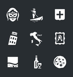 set venice icons vector image