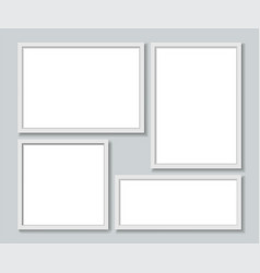 set white photo frames template vector image
