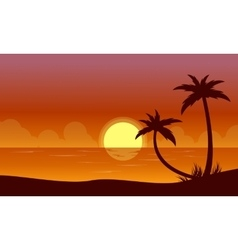 Silhouette of beach at sunset with reflection vector