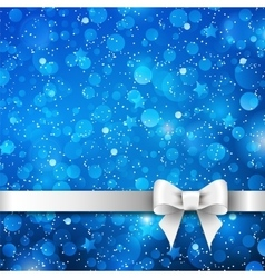Silver bow on blue background vector