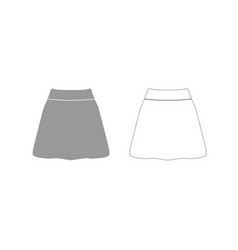 skirt grey set icon vector image