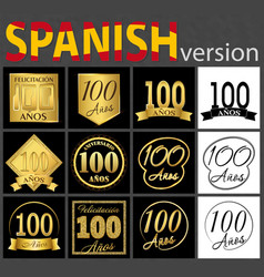 spanish set of number 100 templates vector image