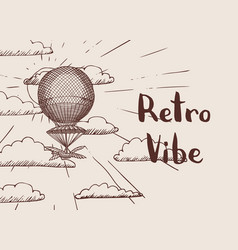 steampunk hand drawn air balloon vector image