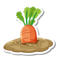 Sticker template with carrot in underground vector