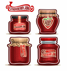 strawberry jam in glass jars vector image