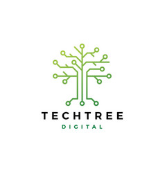 Tech tree electrical circuit digital logo icon vector