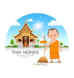 thai monk holding broom is leaf sweep landmark vector image