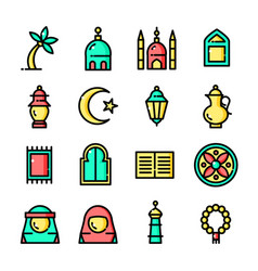 Thin line islam icons set vector