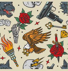 vintage tattoos seamless pattern vector image