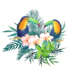 Watercolor with toucans vector