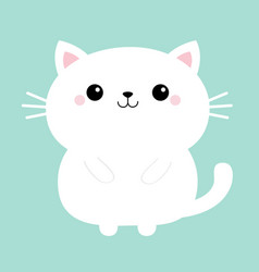 White cat kitten kitty icon cute kawaii cartoon vector