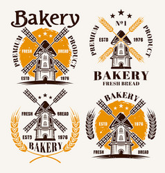 windmill set colored emblems for bakery vector image