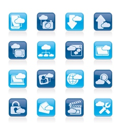 Cloud services and objects icons vector