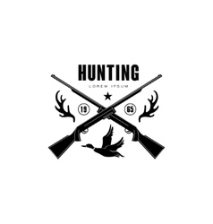 Hunting Vintage Emblem with Horns and Guns vector image