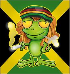 Rastafarian frog cartoon on jamaican flag vector image vector image