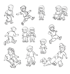 set of children playing in the street vector image vector image