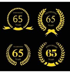 Sixty five years Anniversary laurel golden label vector image