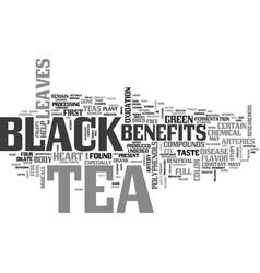 benefits of black tea text word cloud concept vector image