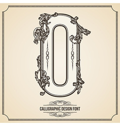 Calligraphic font Number 0 vector image vector image