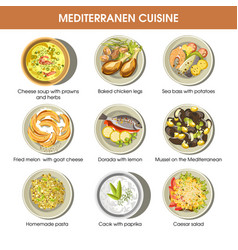 mediterranean cuisine dishes icons set for vector image