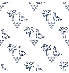 pattern with dinosaur and palms 1 vector image