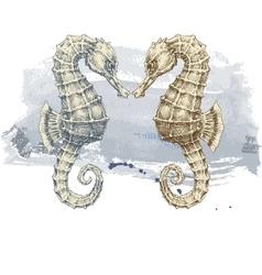 Summer background seahorse over grunge background vector image vector image