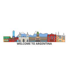 argentina outline skyline argentinian flat thin vector image