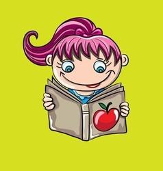 Child reading book cartoon vector