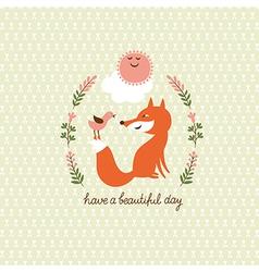 cute fox and bird vector image