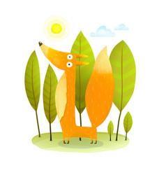 kids fox in wild trees vector image