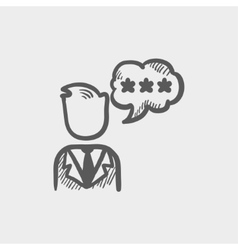 Man with three star in speech square sketch icon vector image