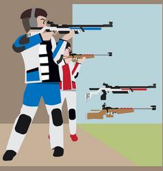 shooting athletic sport cartoon set vector image vector image