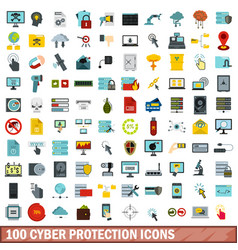 100 cyber protection icons set flat style vector image vector image