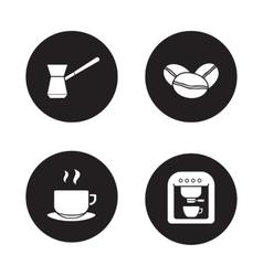 Coffee appliances black icons set vector image