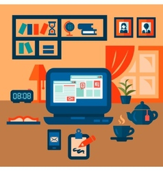 flat concept of business workspace vector image vector image