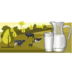 fresh natural milk with cow vector image