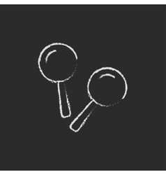 Maracas icon drawn in chalk vector image