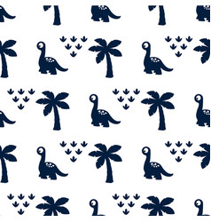 pattern with dinosaur and palms vector image