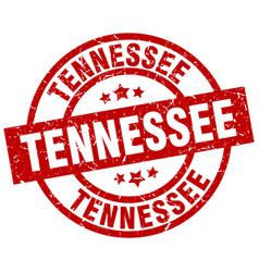 tennessee red round grunge stamp vector image vector image